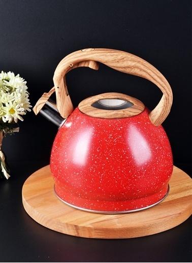 Bayev Metal Düdüklü Tek Çaydanlık Kırmızı Kırmızı